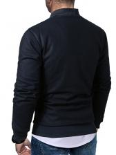 Stand Collar Diamond Pattern Long Sleeve Winter Jacket