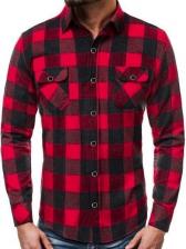 Turndown Collar Plaid Long Sleeve Shirt