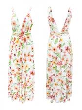 V Neck Backless Split Hem Colorful Maxi Dress