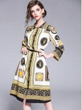 Court Style Printed Long Sleeve Shirt Dress