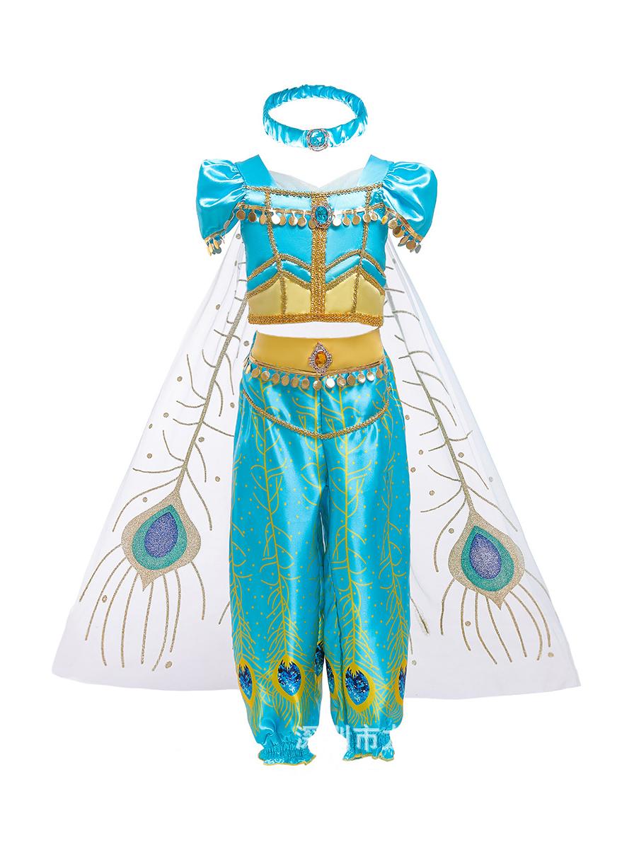 Sequin Short Sleeve Princess Jasmine Halloween Costumes