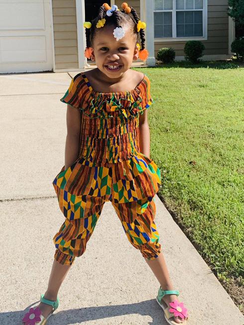 Bohemian Printed Short Sleeve Girls Clothing Sets