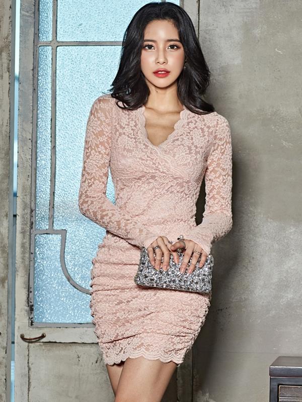 V Neck Skinny Long Sleeve Lace Dress