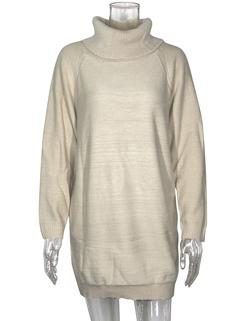HeapCollarSolid Long Sleeve Sweater Dress