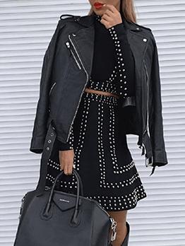 Rhinestone Rivet Cropped Top 2 Piece Skirt Set