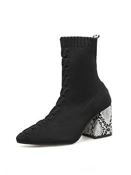 Solid Ruffled Snake Chunky Heel Sock Boots