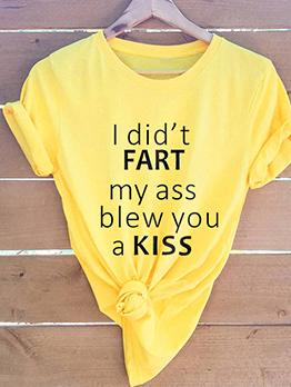 Minimalist Letter Printed Plus Size Cheap T Shirts