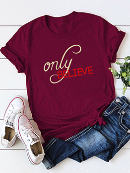 Plus Size Letter Printed Women Cotton T Shirt
