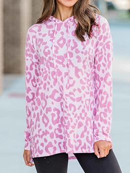 Leopard Printed Hooded Collar Women Cool Hoodies
