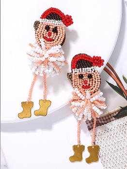 Christmas Cute Snowman Seed Beads Drop Earrings