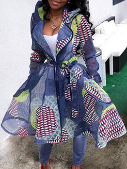 Color Block Printed Tie Wrap Hooded Midi Dresses