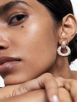 Rhinestone Decor Round Gold Earrings