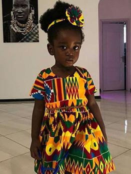 Bohemian Printed Short Sleeve Casual Dress For Kids
