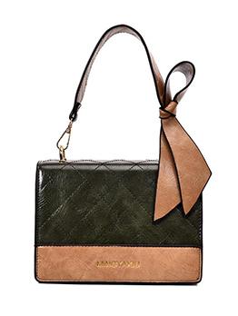 Bowknot Decor Stitches Rhombus Women Shoulder Bag