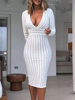 Sexy Deep V Neck Striped Long Sleeve Dress