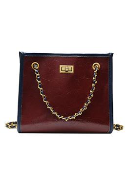 Versatile Twist Lock Chain Shoulder Bags For Women