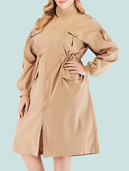 Single-Breasted Smart Waist Trench Coat Dress
