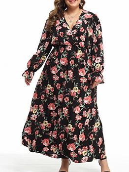 V Neck High Waist Floral Plus Size Maxi Dress