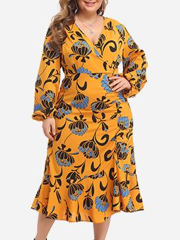 Lantern Sleeve Printed Long Sleeve Plus Size Dress