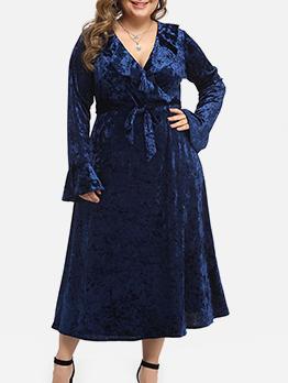 Flare Sleeve Tie-Wrap Velvet Plus Size Dress