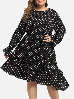 Irregular Large Hem Polka Dot Plus Size Dress