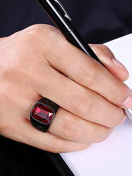 Vintage Square Shape Ruby Ring For Men