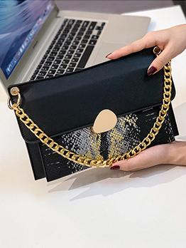 Snake Printed Patchwork Golden Chain Shoulder Bag