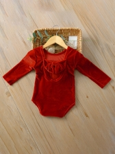 Solid Back Bowknot Baby Girl Rompers