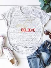 Plus Size Letter Printed Women Cotton T Shirt