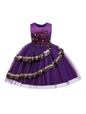 Sequined Embroidery Gauze Patchwork Flower Girl Gown