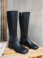 Solid Mid Calf Tabi Boots