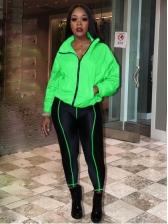 Sporty Line Patchwork Zipper Up 2 Piece Pants Set