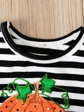 Halloween'sPumpkin Printed Striped Girls Dresses