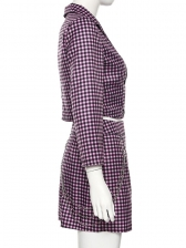 Chic Button Up Pink Plaid Two Piece Skirt Set