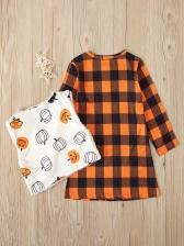 Halloween Long Sleeve Plaid Dress With Waistcoat Sets
