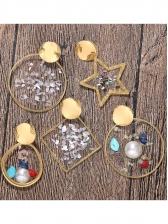 Chic Pearl Decor Geometric Shape Drop Earrings
