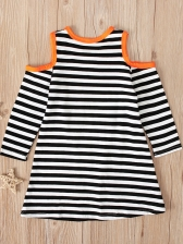Halloween Pumpkin Pattern Toddler Casual Dresses