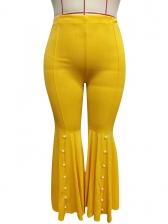 Plus Size Beading Yellow Bell Bottom Pants