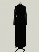 Large Hem Black Glitter Long Sleeve Evening Dresses