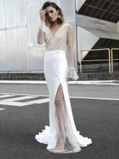 Sexy V Neck Split Hem Gauze White Formal Gowns