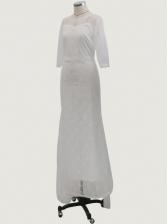 Backless Floor Length White Lace Wedding Dress