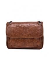 Two Size Solid V Shape Stitches Chain Shoulder Bag
