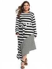 Irregular Hem Striped Long Sleeve Plus Size Dress