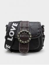 Letter Detachable Wide Belt Round Buckle Shoulder Bag