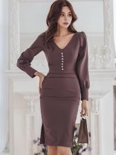 Ol Style v Neck Coffee Long Sleeve Bodycon Dress