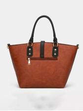 Stitching Color Pu Large Capacity Ladies Handbags