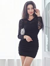 V Neck Lace Panel Draped Black Bodycon Dress