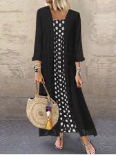 Polka Dots Long Sleeve Plus Size Two Piece Dress