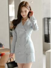 Double-Breasted Long Sleeve Blazer Dress