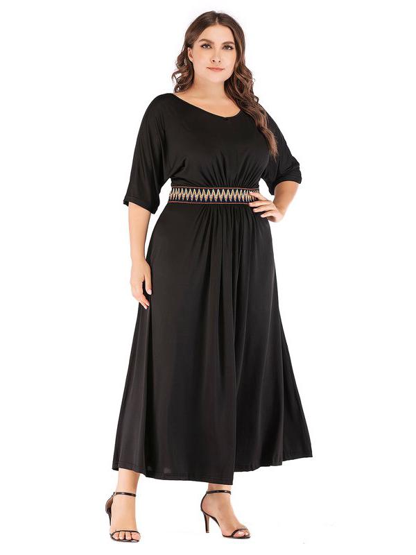 Patchwork Slim Waist Half Sleeve Maxi Dress